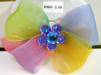Image Loopy Bow with Rhinestone Flower Barrette