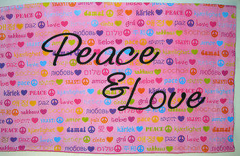 Image Peace Love Multi Lingual Pillow Case