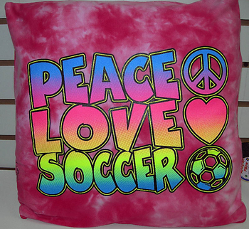 Image Peace Love Soccer Autograph Pillow
