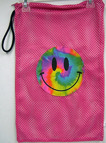 Image Tie Dye Smile Zippered Mesh Sock Bag