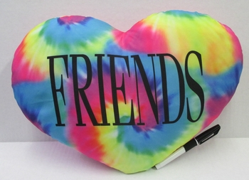 Image BJ647 Tye Dye Friends Heart Pillow