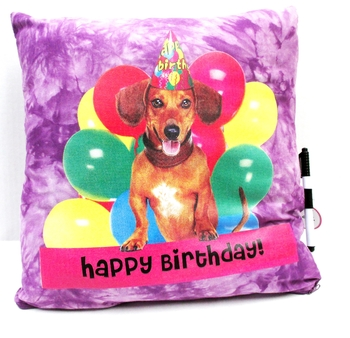 Image Happy Birthday Puppy with Balloons Autograph Pillow