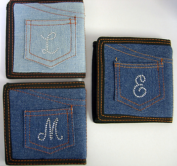 Image LB120 Denim Wallet With Initial