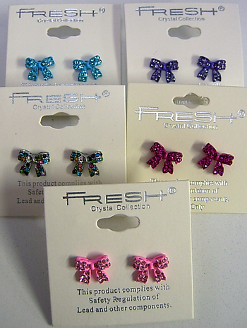 Image Rhinestone Bow Earrings