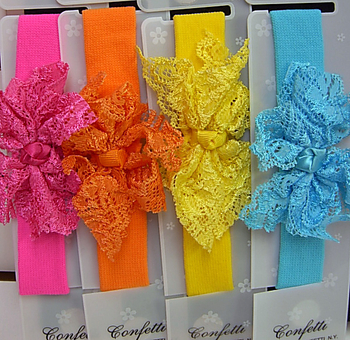 Image Lace Bow on  Baby Stretch Headband