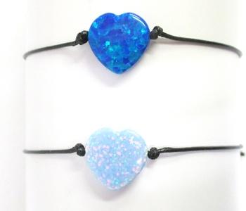 Image Opal Heart Black Cord Bracelet