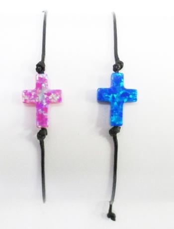Image Opal Cross Black Cord Bracelet