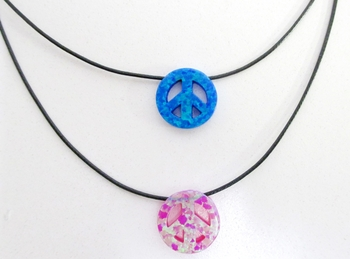 Image Opal Peace Black Cord Necklace