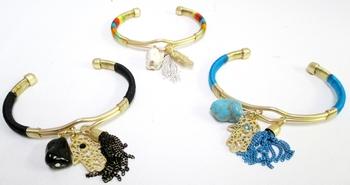 Image Cuff Bracelet with Hamsa tassle Charm