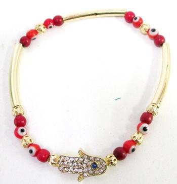 Image Rhinestone Hamsa/Evil Eye Stretch Bracelet