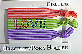 Image Stripe Love Bracelet/Pony 3pc Set