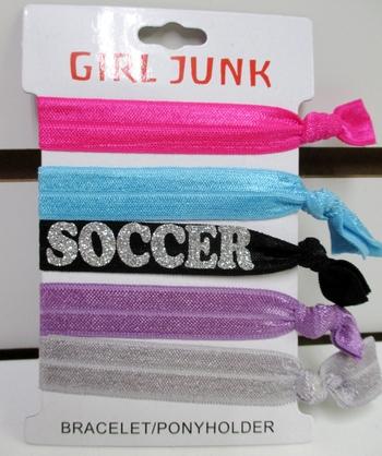 Image 5pcs Glitter Soccer Pony/ Bracelet Set