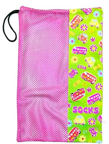 Image Retro Zippered Mesh Sock Bag