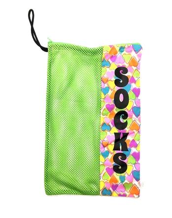 Image Rainbow Hearts Zippered Mesh Sock Bag