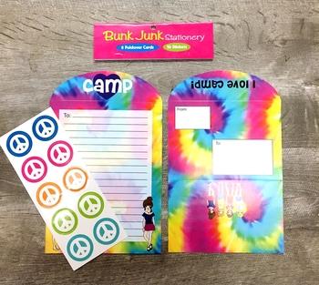 Image Tie Dye Girls Camp Fold-over Stationery