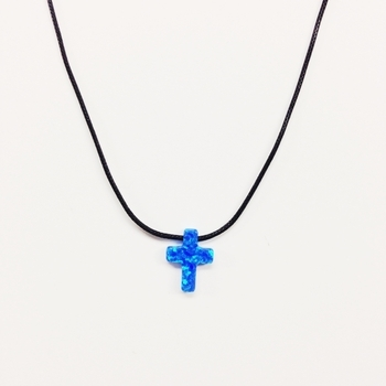 Image Opal cross on Black Cord Necklace
