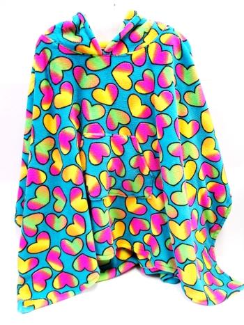 Image Turquoise Rainbow Heart Poncho