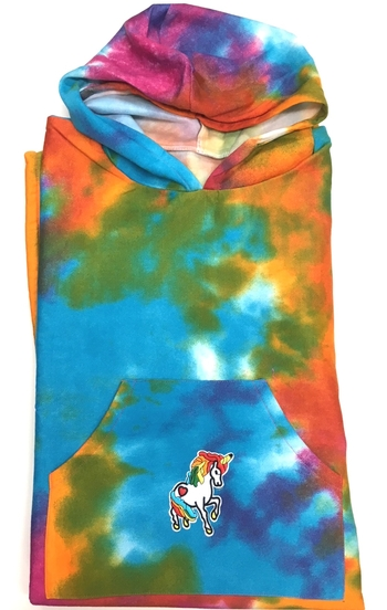 Image Sweatshirt Poncho With Unicorn Pocket