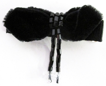 Image Velvet Bow with Bugle Bead Clippie