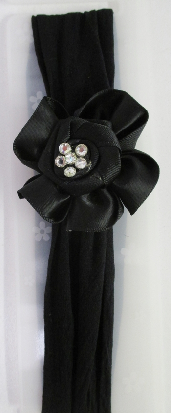 Image Satin Flower Rhinestone Stocking Headband