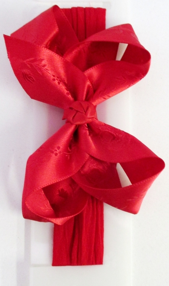 Image Embossed Satin Bow Stocking Headband
