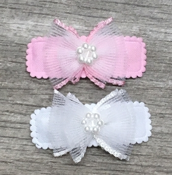 Image Chiffon Double Bow with Pearl Snappy