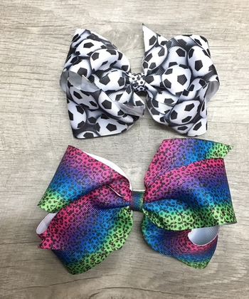Image Soccer Grossgrain Standup Bow Clippie