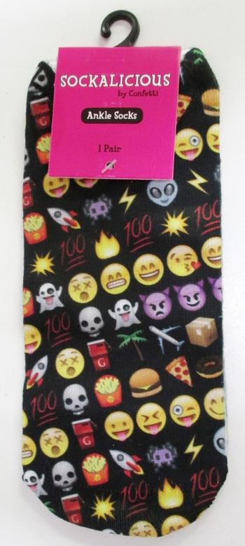 Image Multi Black Emoji Socks
