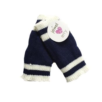 Image Blue & White Finger-less Gloves