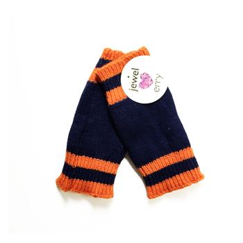 Image Blue & Orange Finger-less Gloves
