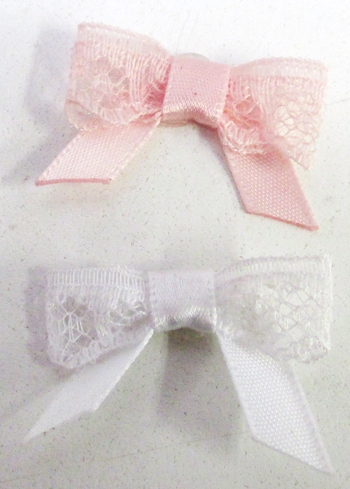 Image Lace Bow with Satin Tails Velcro