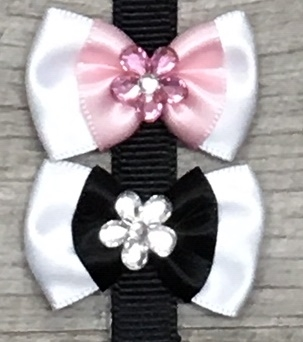 Image Two Tone Satin Bow with Crystal Flower Velcro