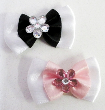 Image Twotone Satin Bow with Crystal Flower Velcro
