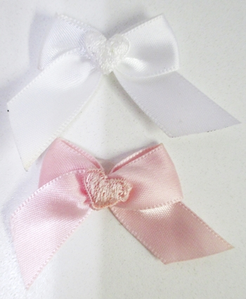 Image Satin Bow with Heart Applique Velcro