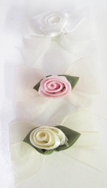 Image Chiffon Standup Rose on Chiffon Bow with Tails Velcro