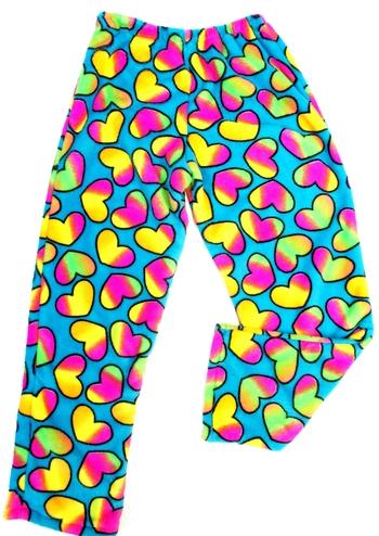 Image Turquoise Rainbow Heart Fuzzie Pant