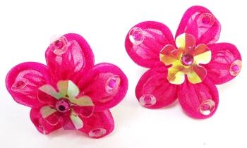 Image Brite Chiffon Flower Sequin Pony Pair