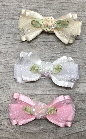 Image Chiffon Double Bow with Sequin Flower Clippie