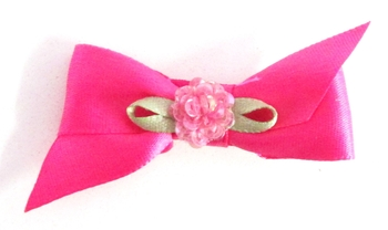 Image Satin Bow with Sequin Flower Clippie