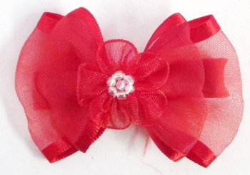 Image Double Chiffon Bow with Flower Center