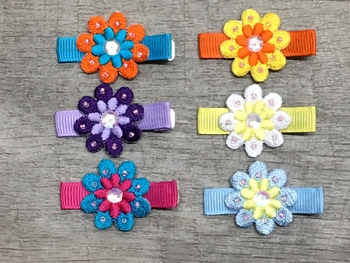 Image Embroidered Flower Clippie