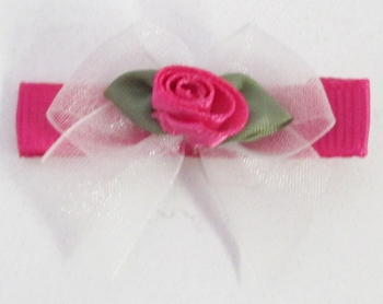 Image Chiffon Bow with Tails with Satin Rose Clippie