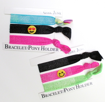 Image 3pc Bracelet Pony Pack Embroidered Emoji