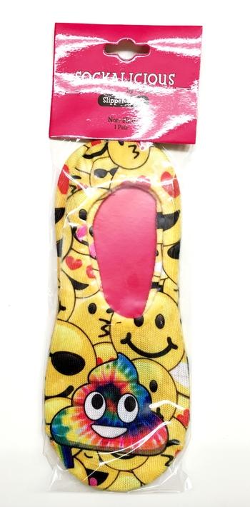 Image Slipper Non Skid Yellow Rainbow Poop Socks