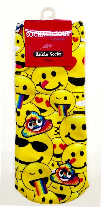 Image Yellow Smiley Rainbow Happiness Socks