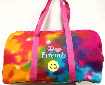 Image Duffel with Peace Love Friends Smile