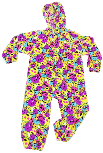 Image Rainbow Emoji Fuzzies Onesie Jumpsuit