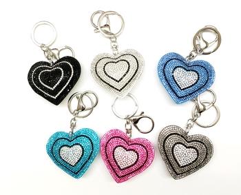 Image Rhinestone Double Heart Keychain