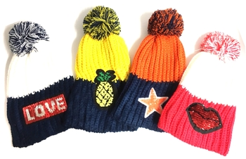 Image Knit  Sequin Patch Hat