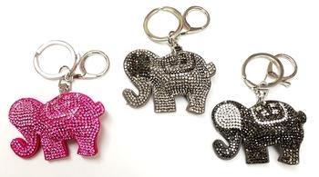 Image Rhinestone Elephant Keychain